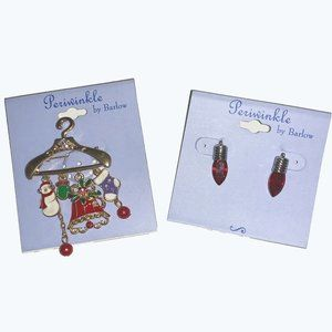 Periwinkle by Barlow Christmas pin and earrings